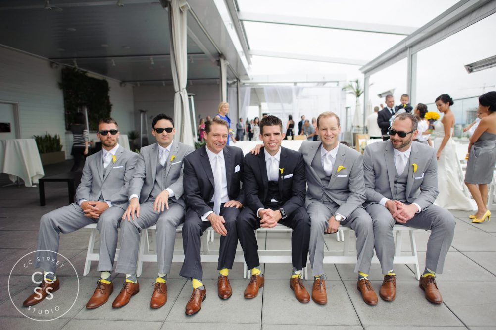 grey groomsmen attire
