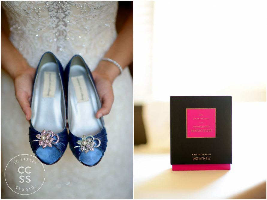 blue wedding shoes bride