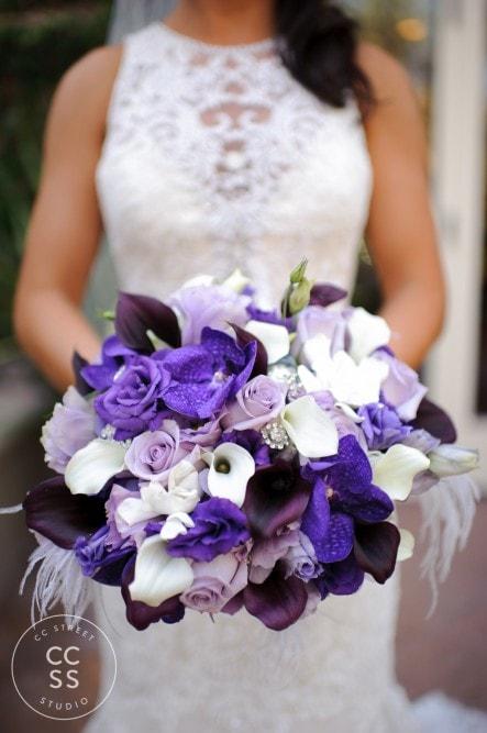 purple bride bouquet