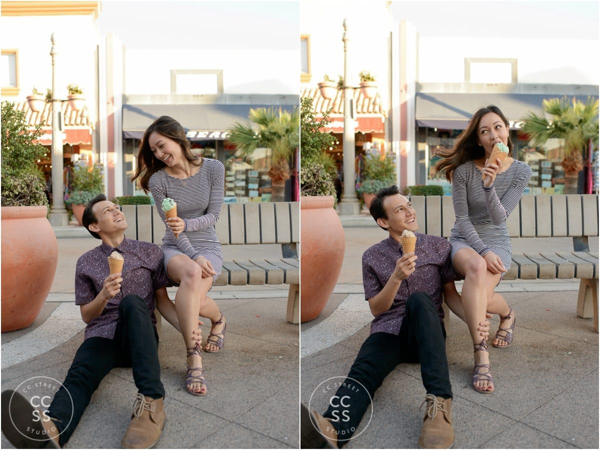 engagement photos with ice cream