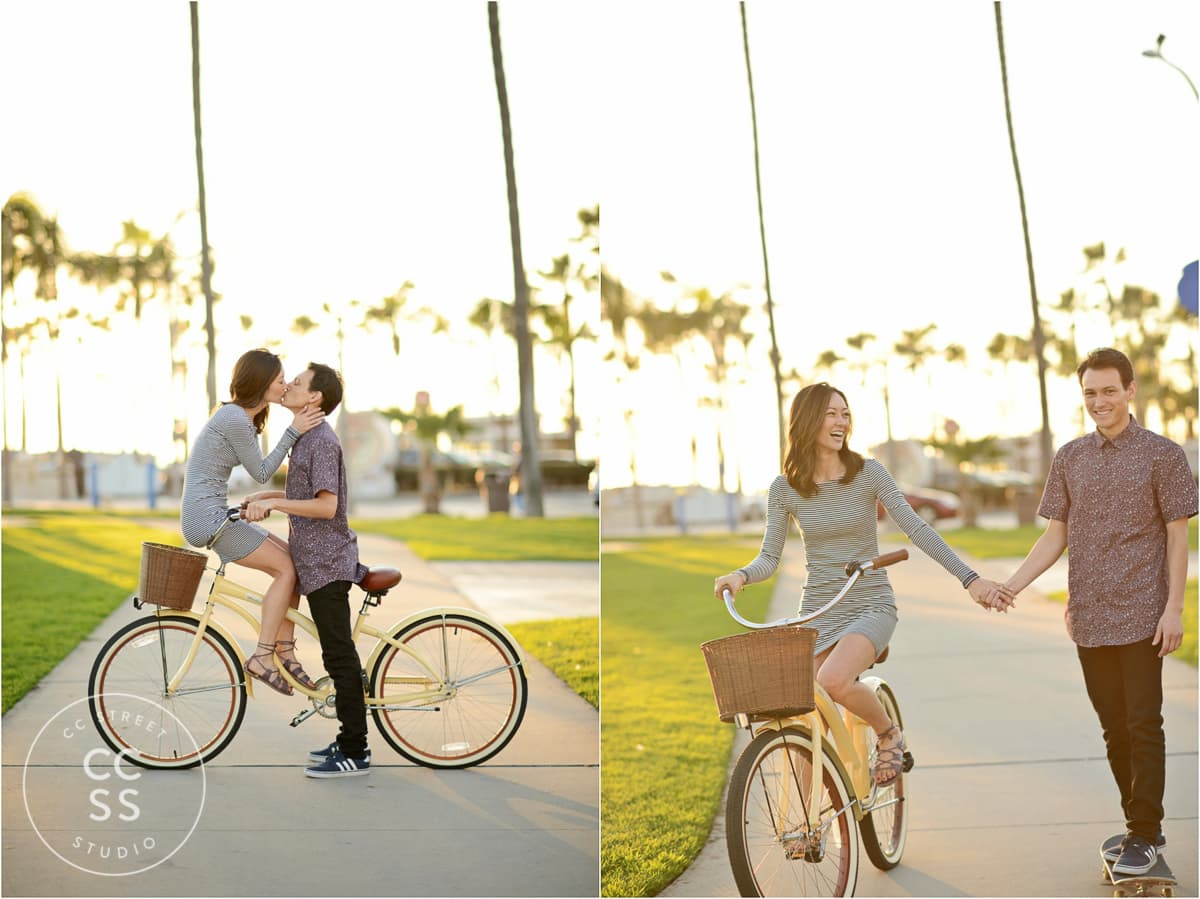 engagement photos with bikes