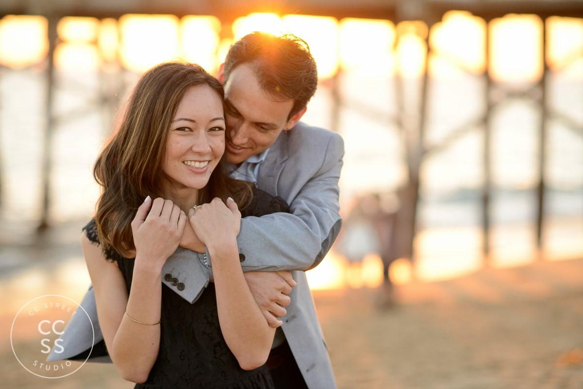balboa pier engagement photo