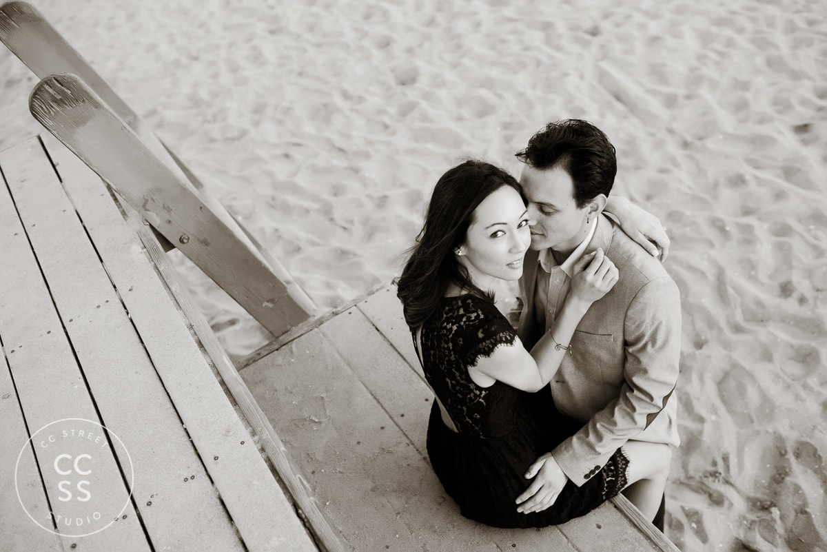engagement picture on lifeguard tower